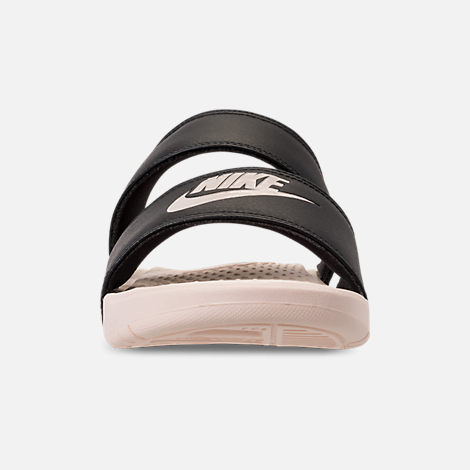 Front view of Women's Nike Benassi Duo Ultra Slide Sandals in Black/Guava Ice/Guava Ice