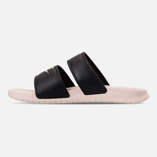 Left view of Women's Nike Benassi Duo Ultra Slide Sandals in Black/Guava Ice/Guava Ice