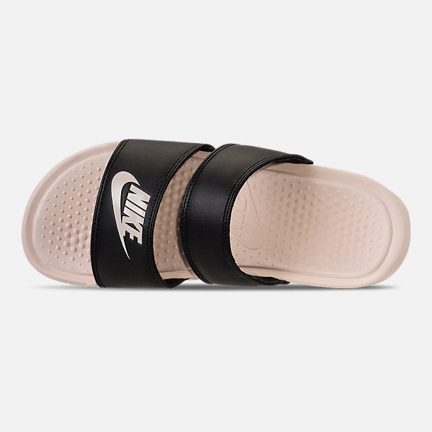 Top view of Women's Nike Benassi Duo Ultra Slide Sandals in Black/Guava Ice/Guava Ice