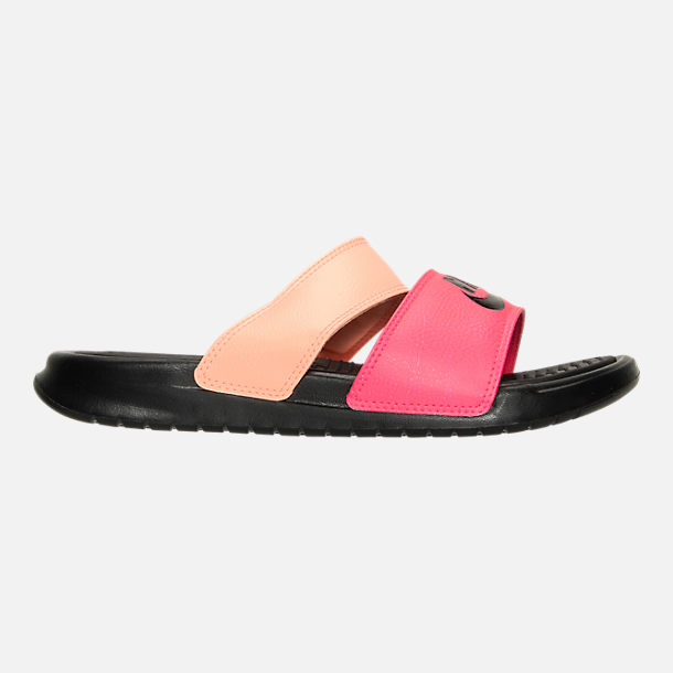 Right view of Women's Nike Benassi Duo Ultra Slide Sandals in Racer Pink/ Black/