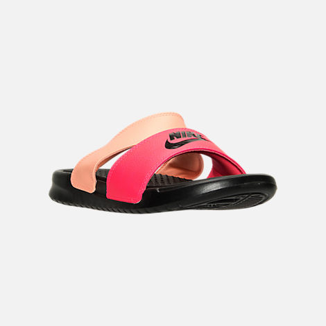 Three Quarter view of Women's Nike Benassi Duo Ultra Slide Sandals in Racer  Pink/Black