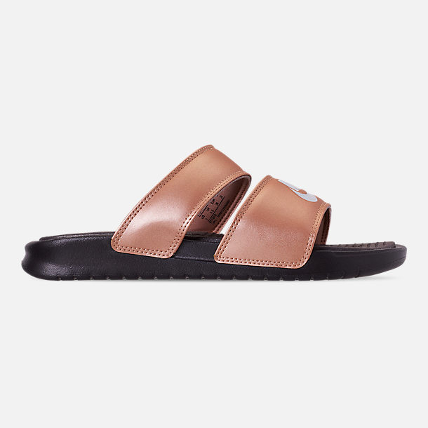 Right view of Women's Nike Benassi Duo Ultra Slide Sandals in Metallic Red Bronze/Pure Platinum