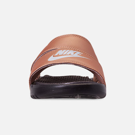 7243a16e48b Front view of Women s Nike Benassi Duo Ultra Slide Sandals in Metallic Red  Bronze Pure