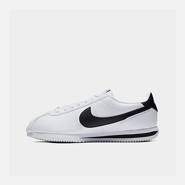 Right view of Men's Nike Cortez Basic Leather Casual Shoes in White/Black/Metallic Silver