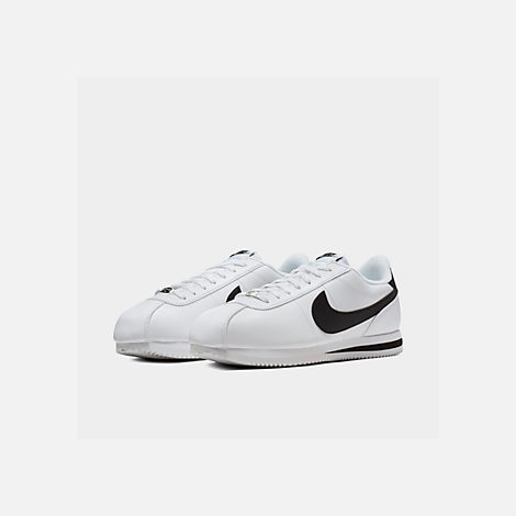 Three Quarter view of Men's Nike Cortez Basic Leather Casual Shoes in White/Black/Metallic Silver