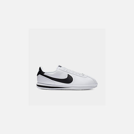 Front view of Men's Nike Cortez Basic Leather Casual Shoes in White/Black/Metallic Silver