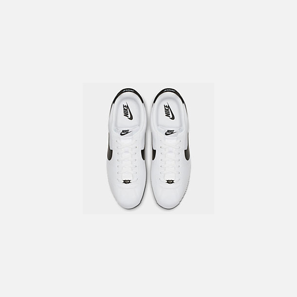 Back view of Men's Nike Cortez Basic Leather Casual Shoes in White/Black/Metallic Silver