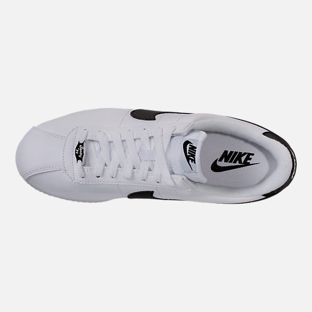 Top view of Men's Nike Cortez Basic Leather Casual Shoes in White/Black/Metallic Silver