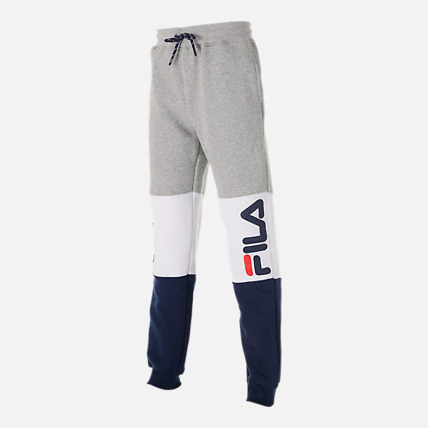 Front view of Boys' Fila Colorblock Jogger Pants in Grey Heather