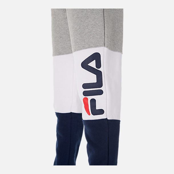 Back view of Boys' Fila Colorblock Jogger Pants in Grey Heather