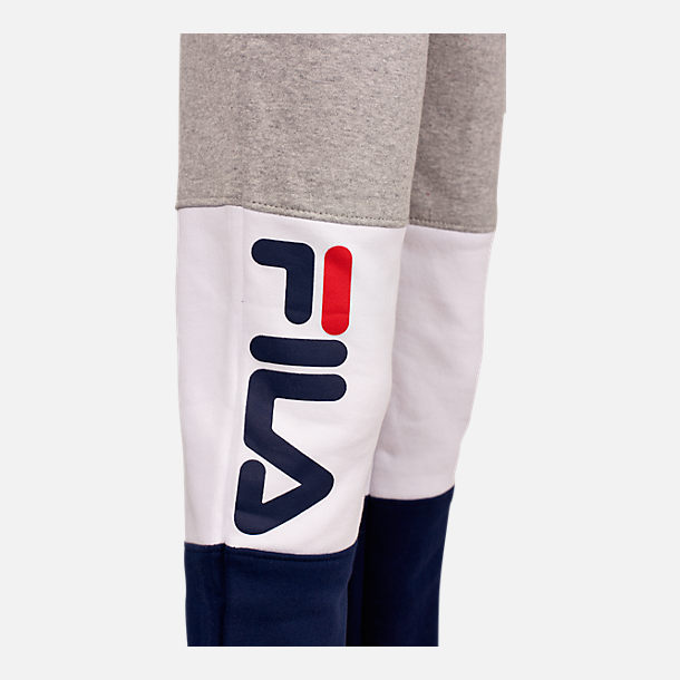 Alternate view of Boys' Fila Colorblock Jogger Pants in Grey Heather