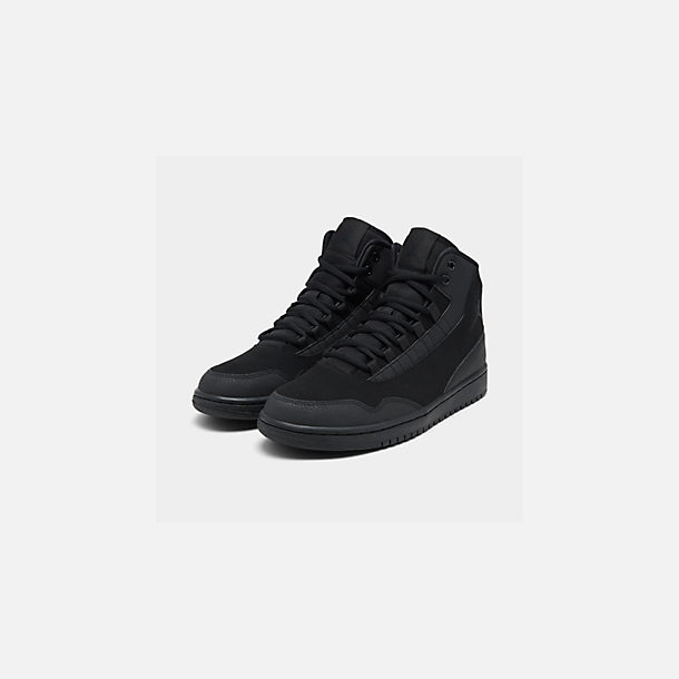 Three Quarter view of Men's Air Jordan Executive Off-Court Shoes in Black/Black/Black