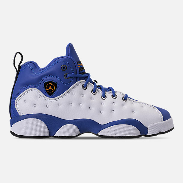 Right view of Boys' Big Kids' Jordan Jumpman Team II Basketball Shoes in Hyper Royal/Orange Peel/White/Black