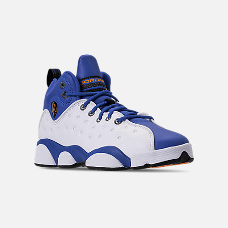Three Quarter view of Boys' Big Kids' Jordan Jumpman Team II Basketball Shoes in Hyper Royal/Orange Peel/White/Black