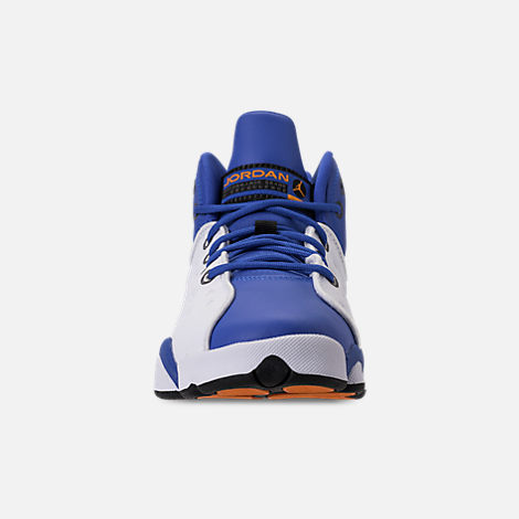 Front view of Boys' Big Kids' Jordan Jumpman Team II Basketball Shoes in Hyper Royal/Orange Peel/White/Black