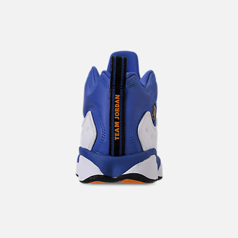 Back view of Boys' Big Kids' Jordan Jumpman Team II Basketball Shoes in Hyper Royal/Orange Peel/White/Black