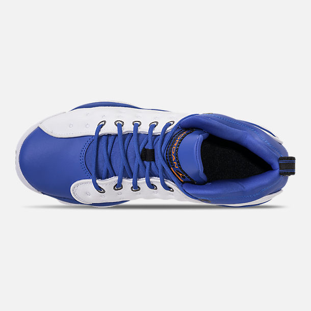 Top view of Boys' Big Kids' Jordan Jumpman Team II Basketball Shoes in Hyper Royal/Orange Peel/White/Black