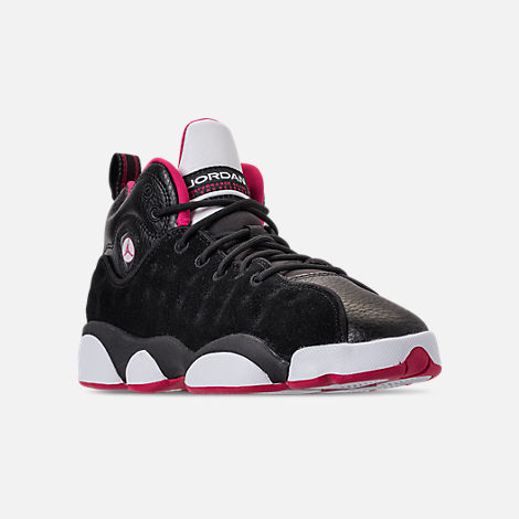 Three Quarter view of Girls' Grade School Jordan Jumpman Team II (3.5y-9.5y) Basketball Shoes