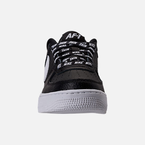 Front view of Boys' Grade School Nike NBA Air Force 1 Low LV8 Casual Shoes in Black/White