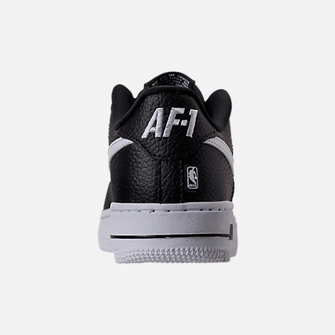 Back view of Boys' Grade School Nike NBA Air Force 1 Low LV8 Casual Shoes in Black/White
