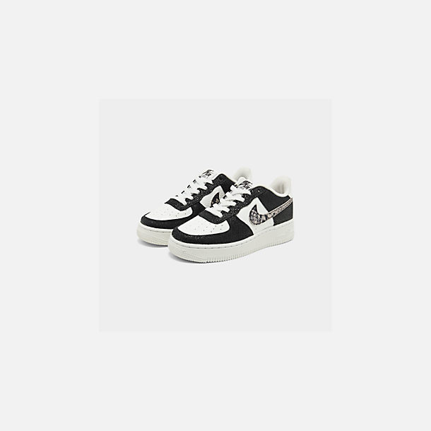 Three Quarter view of Boys' Big Kids' Nike NBA Air Force 1 Low LV8 Casual Shoes in Summit White/Black