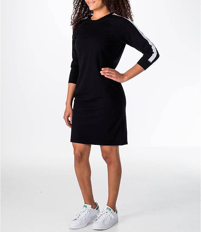 Front view of Women's Activ8 Varsity Dress in Black/White