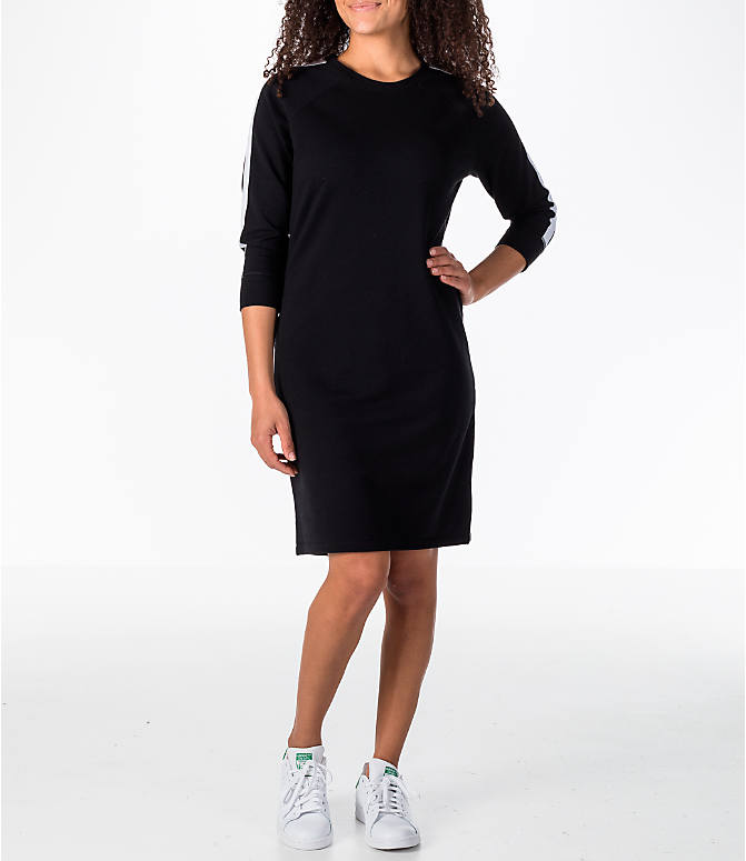 Front Three Quarter view of Women's Activ8 Varsity Dress in Black/White
