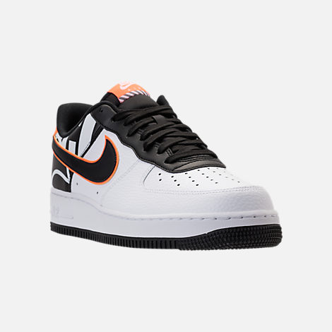 Three Quarter view of Men's Nike NBA Air Force 1 '07 LV8 Casual Shoes in White/Black