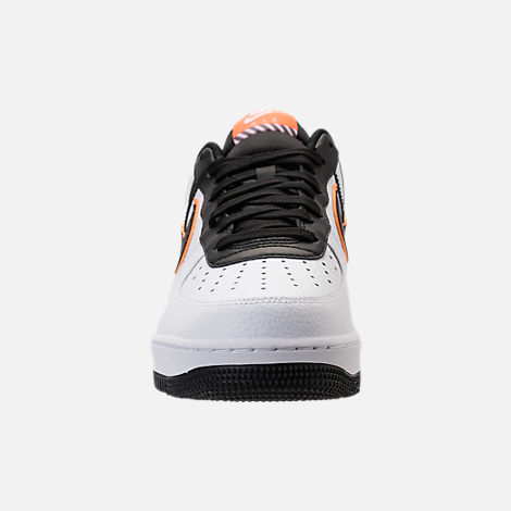 Front view of Men's Nike NBA Air Force 1 '07 LV8 Casual Shoes in White/Black
