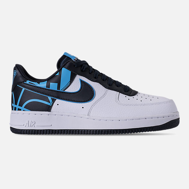 Right view of Men's Nike NBA Air Force 1 '07 LV8 Casual Shoes in White/Dark Obsidian