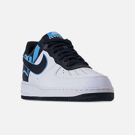 Three Quarter view of Men's Nike NBA Air Force 1 '07 LV8 Casual Shoes in White/Dark Obsidian