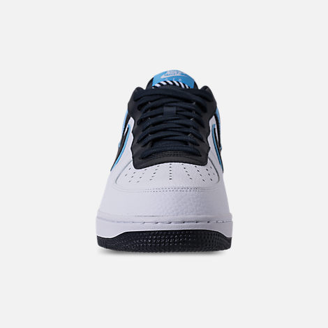 Front view of Men's Nike NBA Air Force 1 '07 LV8 Casual Shoes in White/Dark Obsidian