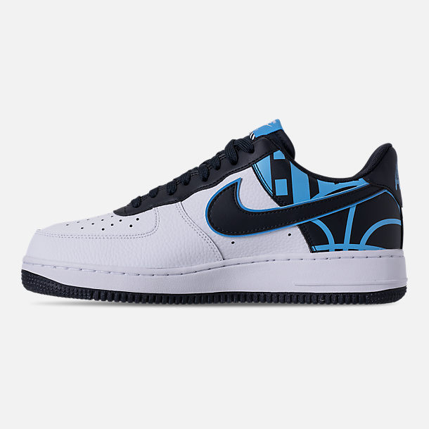 Left view of Men's Nike NBA Air Force 1 '07 LV8 Casual Shoes in White/Dark Obsidian