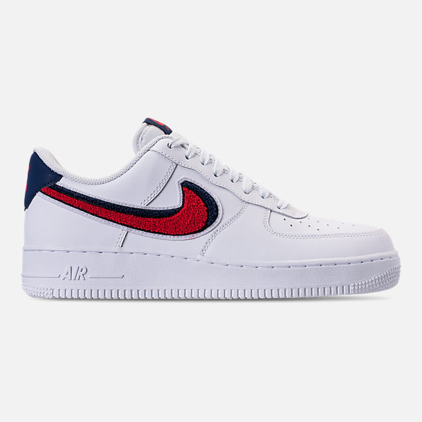 Right view of Men's Nike NBA Air Force 1 '07 LV8 Casual Shoes in White/University Red/Blue