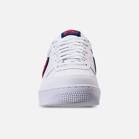 Front view of Men's Nike NBA Air Force 1 '07 LV8 Casual Shoes in White/University Red/Blue