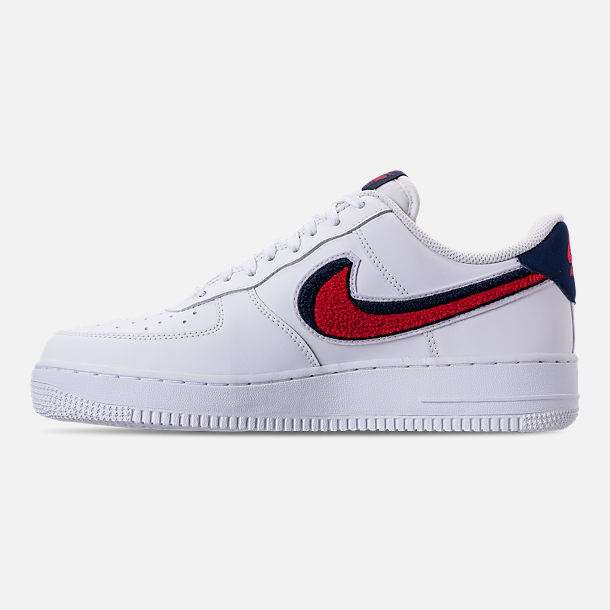 Left view of Men's Nike NBA Air Force 1 '07 LV8 Casual Shoes in White/University Red/Blue