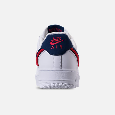 Back view of Men's Nike NBA Air Force 1 '07 LV8 Casual Shoes in White/University Red/Blue