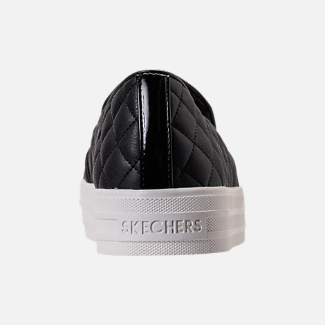 Back view of Women's Skechers Double Up - Duvet Casual Shoes in Black Duvet
