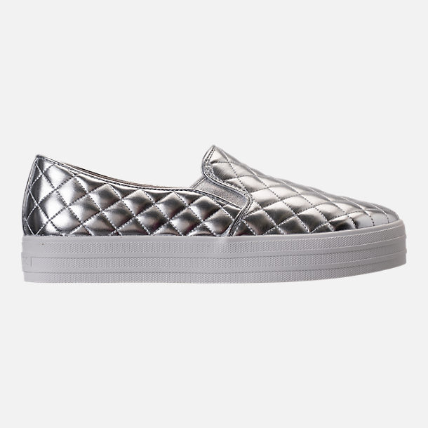 Right view of Women's Skechers Double Up - Duvet Casual Shoes in Silver Quilted