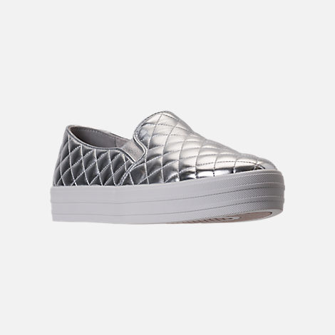 Three Quarter view of Women's Skechers Double Up - Duvet Casual Shoes in Silver Quilted