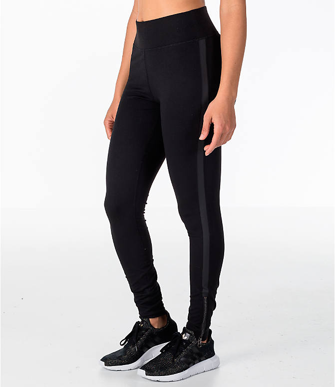 Front Three Quarter view of Women's Activ8 Bowery Ankle Grazer Training Leggings in Black