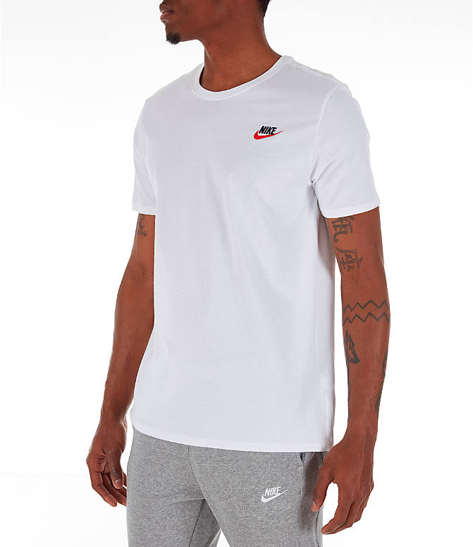 Front Three Quarter view of Men's Nike Core T-Shirt in Red/White