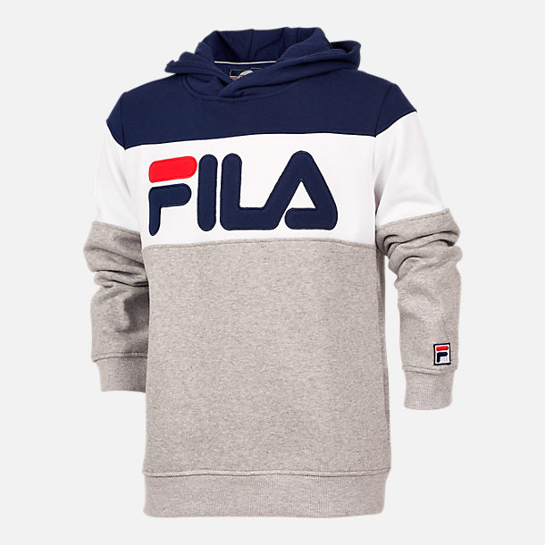 Front view of Boys' FILA Coloblocked Pullover Hoodie in Grey/White/Blue