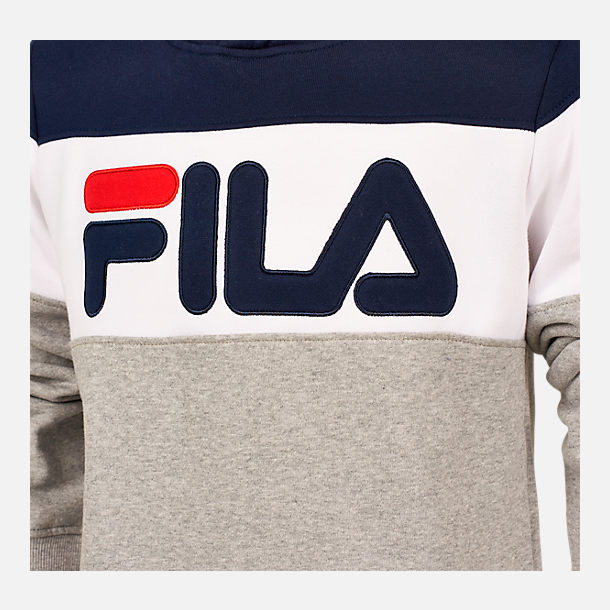 Back view of Boys' FILA Coloblocked Pullover Hoodie in Grey/White/Blue