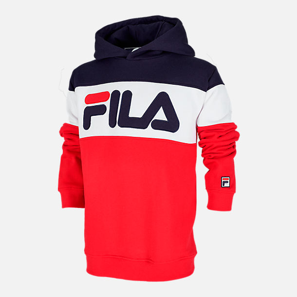 Front view of Boys' Fila Colorblocked Hoodie in Red/Navy/White