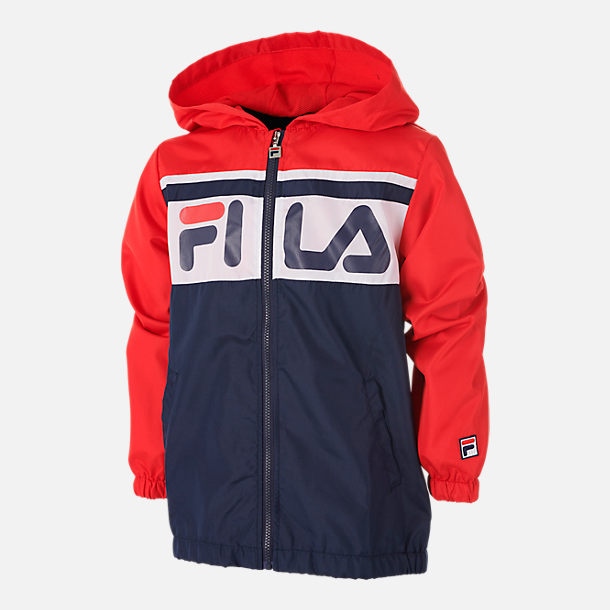 Front view of Boys' Fila Colorblock Full-Zip Hooded Windbreaker Jacket in Navy/Red/White