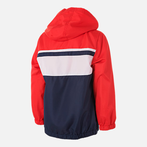 Back view of Boys' Fila Colorblock Full-Zip Hooded Windbreaker Jacket in Navy/Red/White