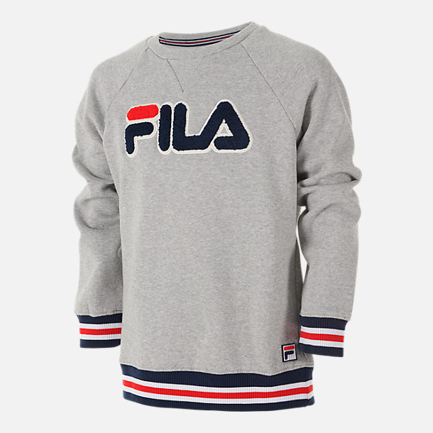 Front view of Boys  Fila Varsity Crewneck Sweatshirt in Grey Heather fdb202b5be