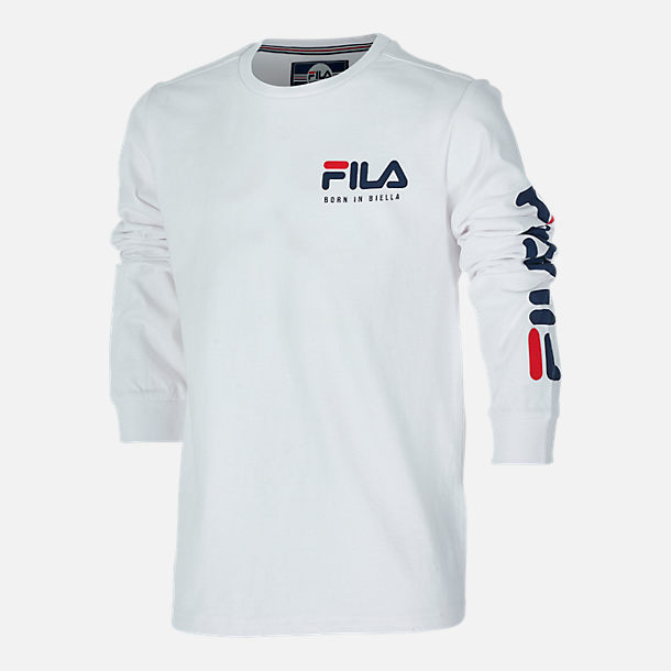 Front view of Boys' FILA Origins Long-Sleeve T-Shirt in White