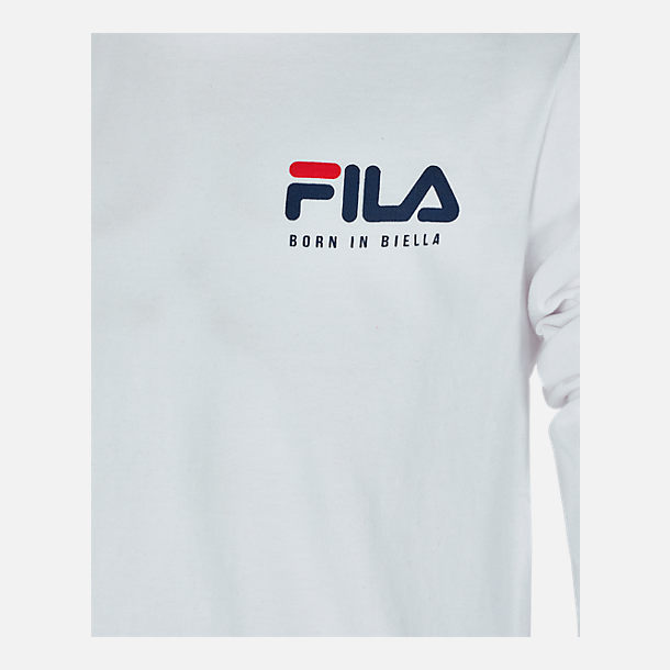 Back view of Boys' FILA Origins Long-Sleeve T-Shirt in White